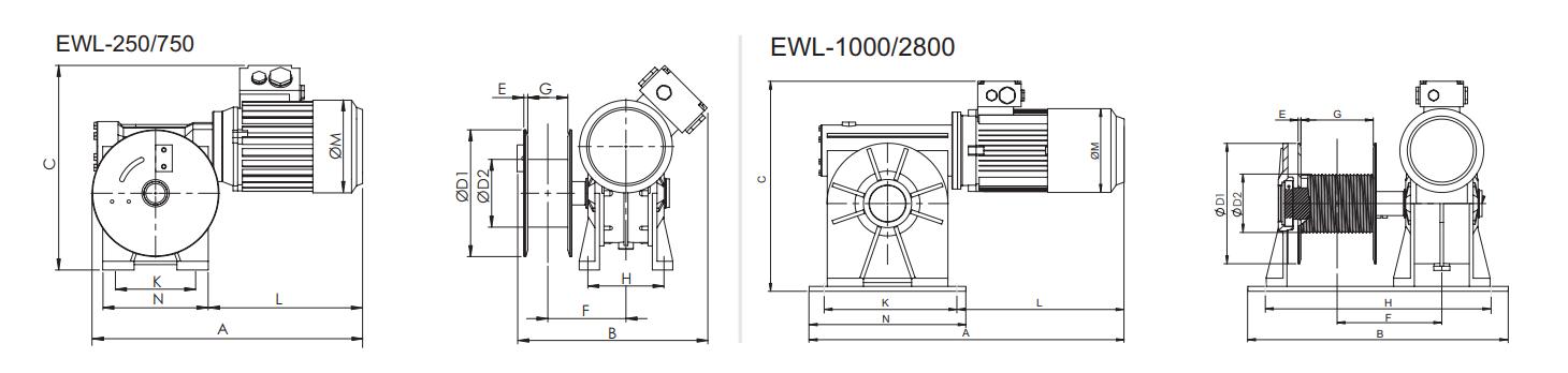 Elektrische Lier EWL Afmetingen