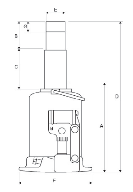 Hydraulische Vijzel Weber ATD 10 120 Afmetingen