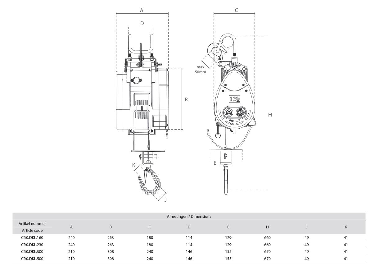 Karweilier 230V DKL Type Afmetingen 2