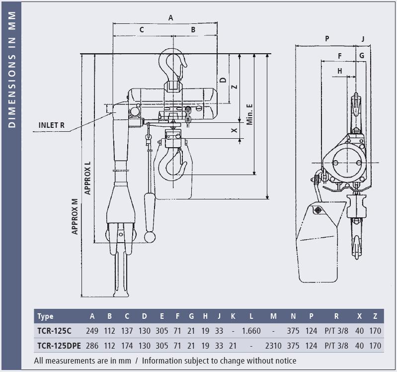 Afmetingen TCR Mini Hoist